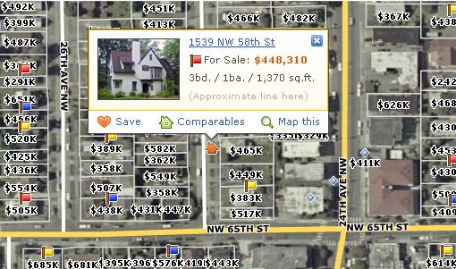 Zillow screen shot: Listings