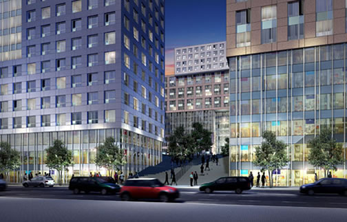 The proposed Trinity Plaza (Image Source: arquitectonica.com)