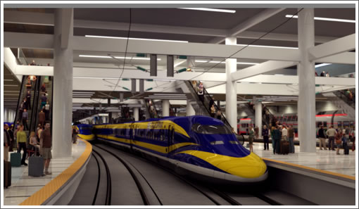 California high-speed train in the new Transbay Terminal (Image Source: NC3D)
