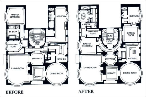 1001 California #3: Before and After Floor Plans