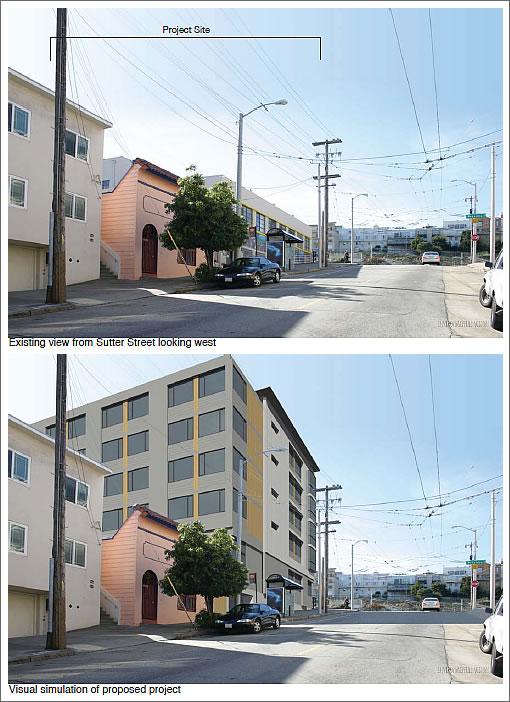 800 Presidio Avenue Rendering: View from Sutter looking north