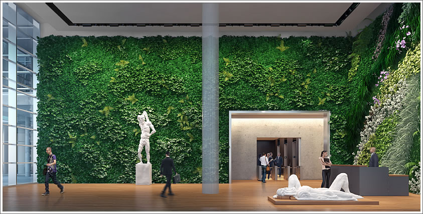 The living wall and public art within this building s lobby - Building a living wall ...