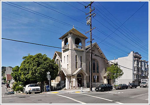 First St. John's United Methodist Church at Larkin and Clay (Image Source: MapJack.com)