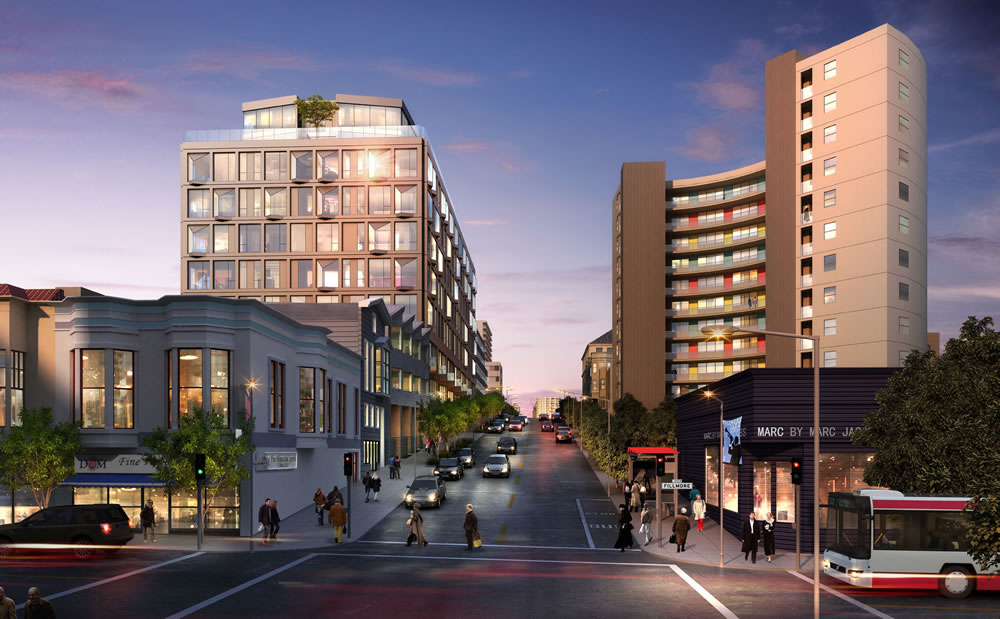 2155 Webster Rendering: View from Fillmore Street