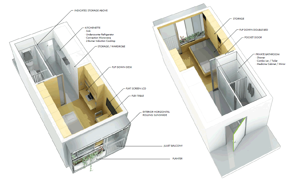 Floor Plan For Proposed 174-Square-Foot Suites
