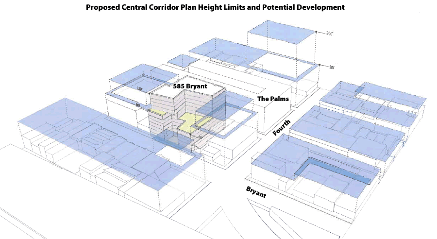 Proposed Central SoMa Height Limits Along Bryant, 4th and Brannan