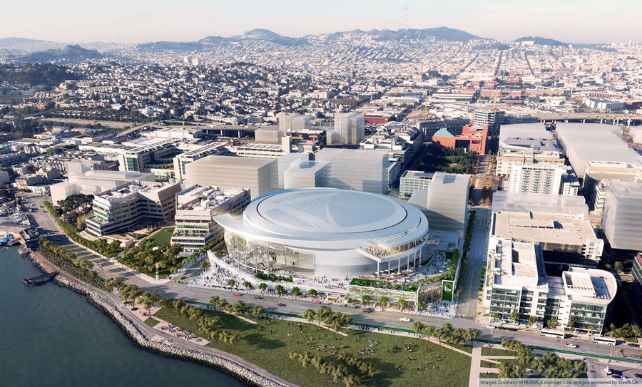 Warriors Mission Bay Arena Rendering - East Aerial