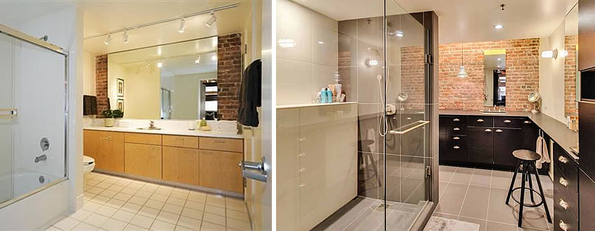 650 Delancey Street #309 Bathroom Before and After