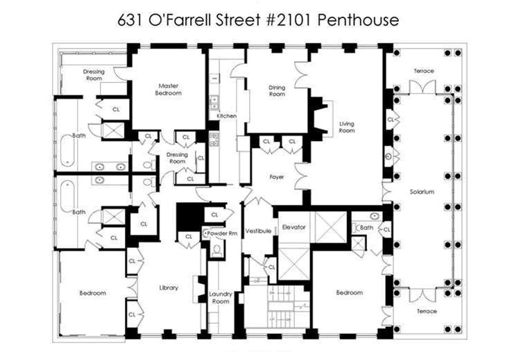 631 O'Farrell Penthouse Floor Plan