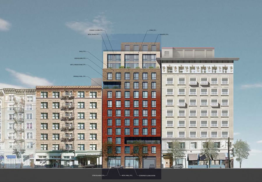 19-25 Mason Street Project Rendering: Turk Street Facade