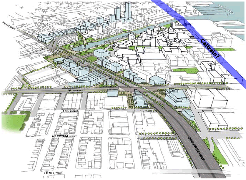 I-280 and Railyard Redevelopment Project Rendering with Caltrain Re-route