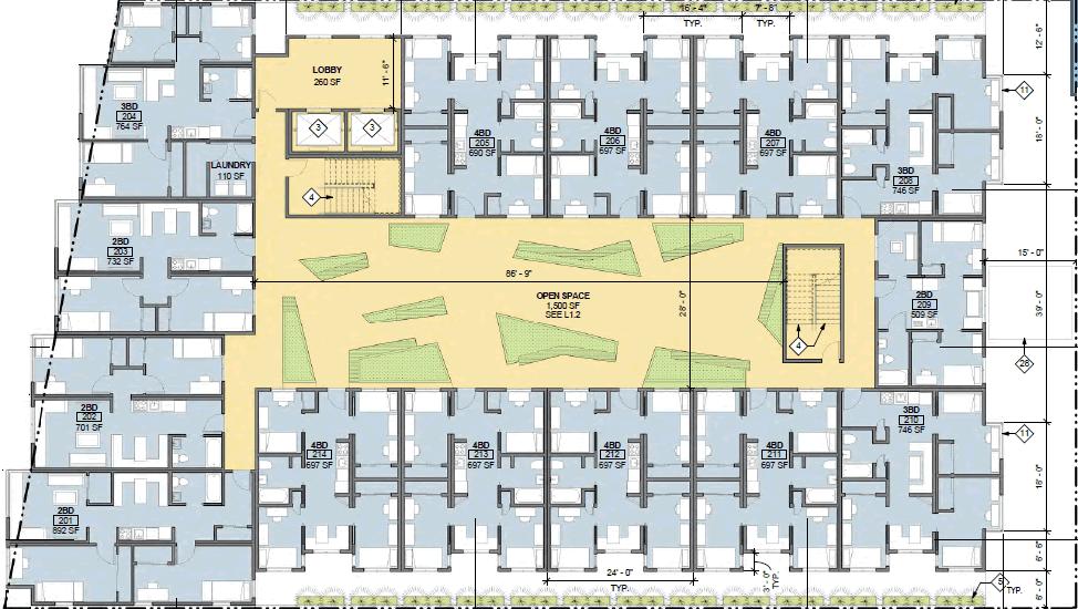 2539 Telegraph Avenue Typical Floor Plan