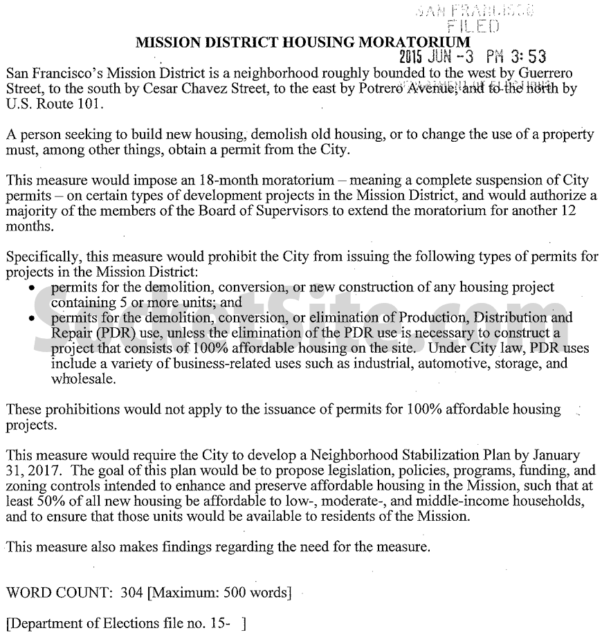 Mission District Moratorium Summary
