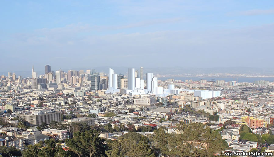 The Hub from Corona Heights:  Massed as Proposed