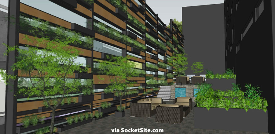 249 Pennsylvania Rendering - Rear Yard and Green Wall