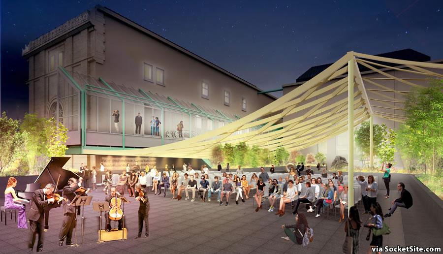 Asian Art Museum Expansion Plan Rendering: Terrace Night