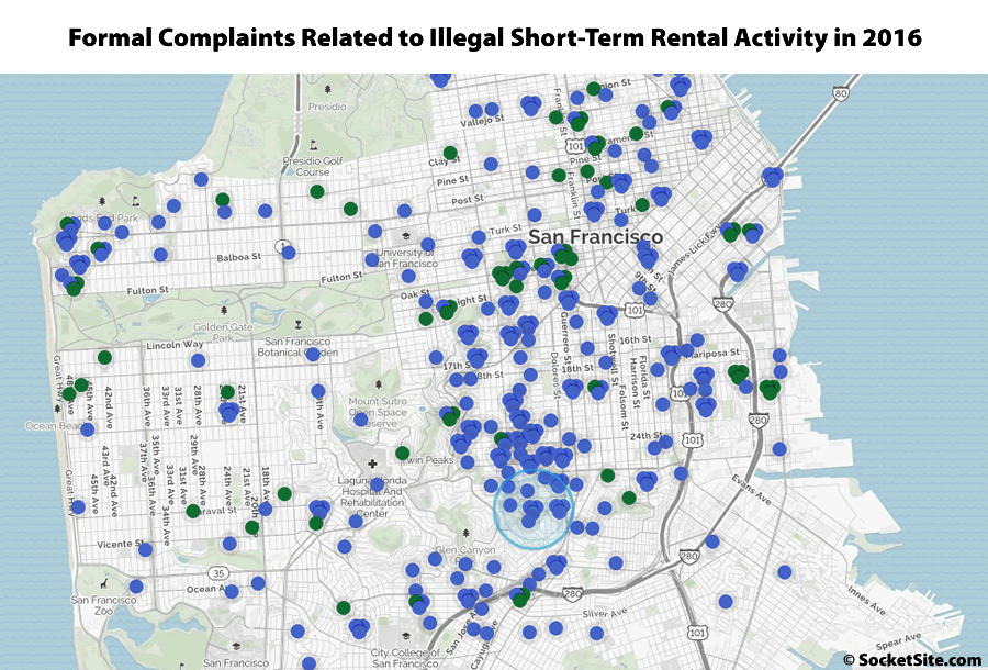 Short-Term Rental Complaints filed in 2016