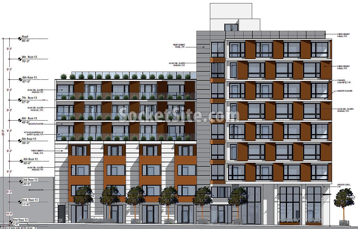 345 6th Street Rendering: Shipley Street Facade