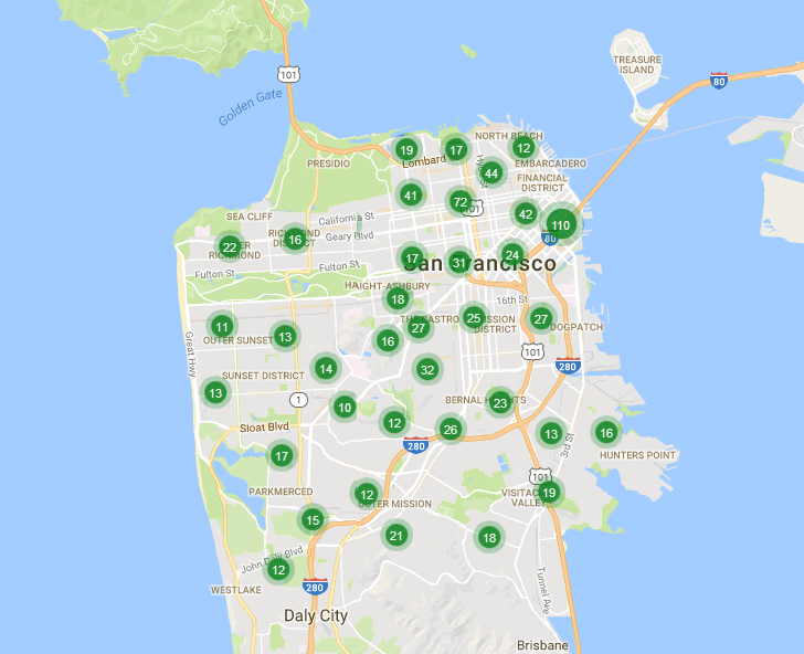 Map of homes listed for sale in San Francisco: 10/31/16