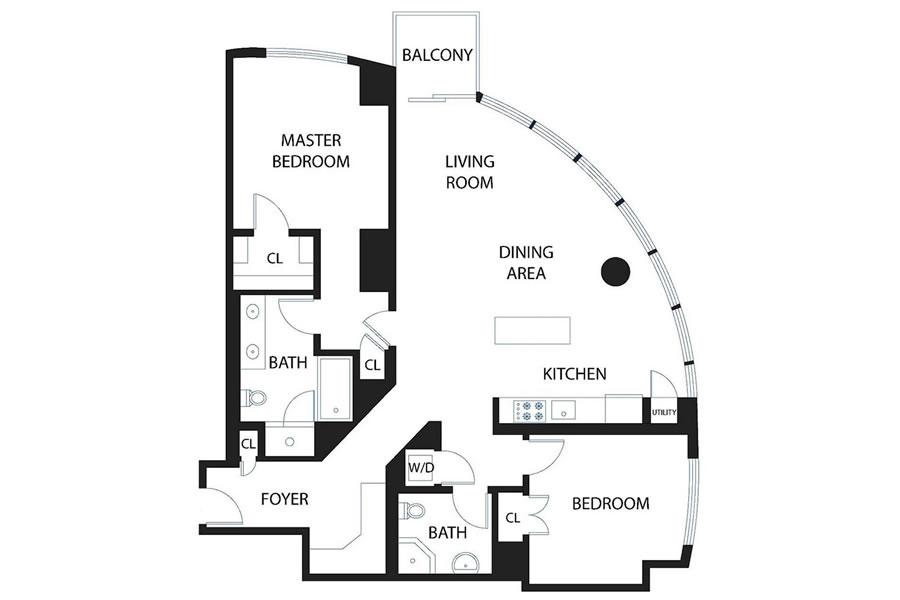 301 Main Street #28F Floor Plan 900