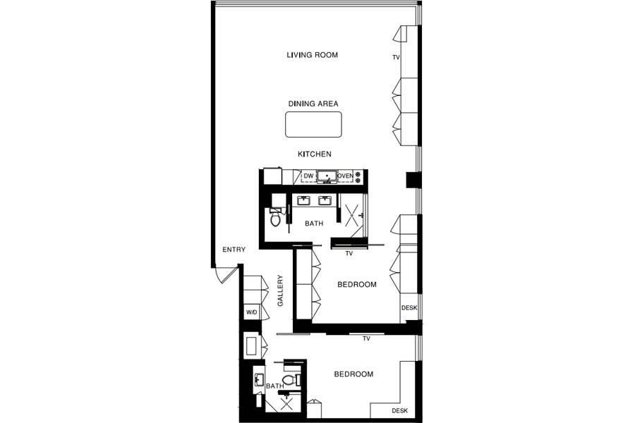 1070 Green Street #201 Floor Plan