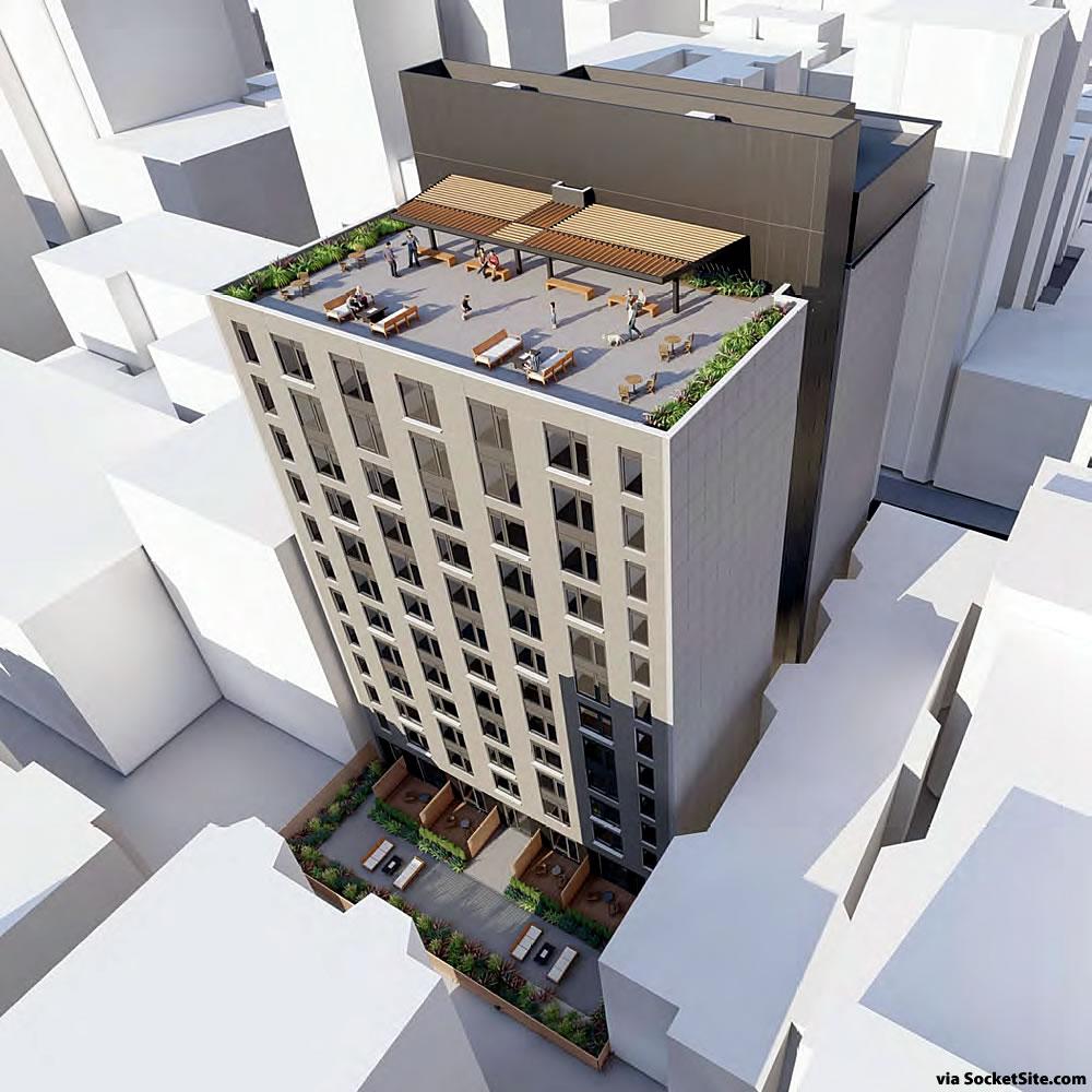 550 O'Farrell Street Rendering 2020 - Aerial Rear