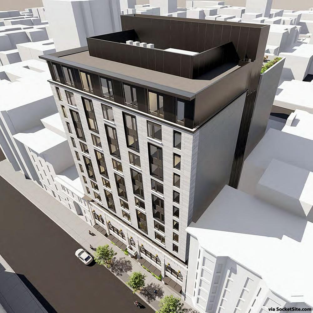 550 O'Farrell Street Rendering 2020 - Aerial