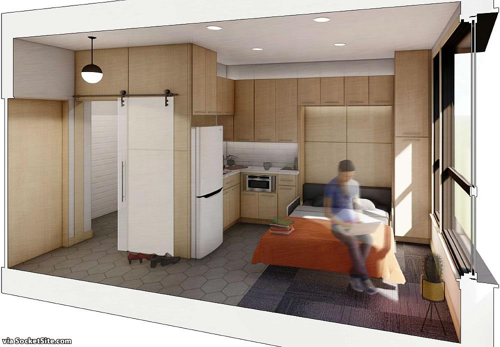 401 South Van Ness Rendering 2021 - Micro Unit - Bed